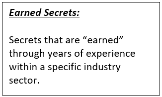 Text Box: Earned Secrets: Secrets that are